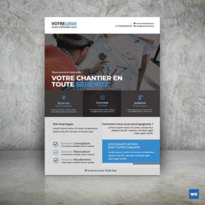 Modèle Flyers Travaux By WePrint Bleu